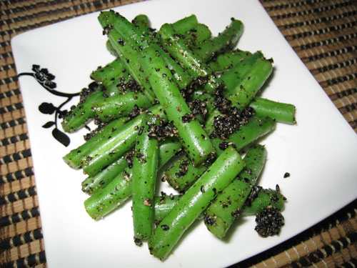 Green Beans with Black Sesame Paste