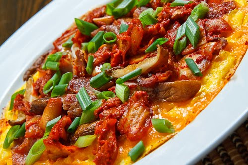 Kimchi, Bacon and Shiitake Mushroom Omelette
