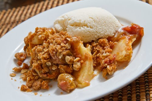 Apple Rhubarb Crisp with Vanilla Ice Cream