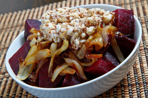 Roasted Beets with Caramelized Onions and Feta on Closet Cooking