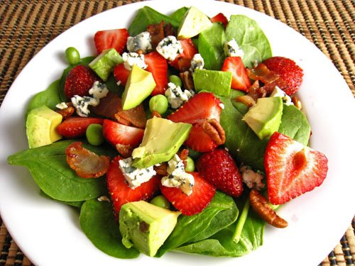 Strawberry and Avocado Spinach Salad in Raspberry Balsamic Vinaigrette