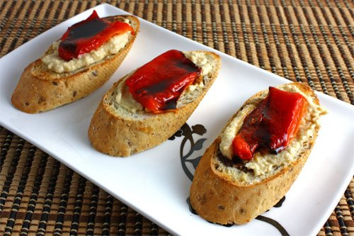 Crostini with Hummus and Roasted Red Peppers