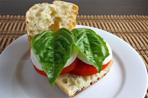 The Caprese Sandwhich (Basil, Mozzarella, and Tomatoes)