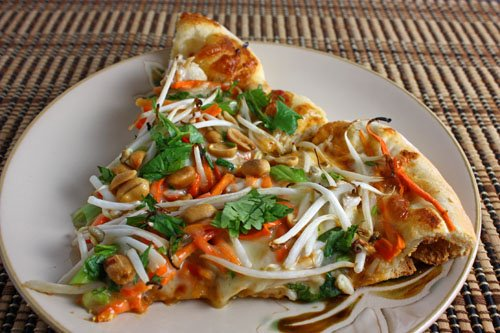 Thai Chicken Pizza with Spicy Peanut Sauce on Closet Cooking