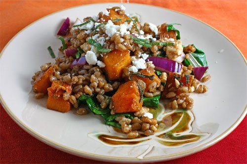 Roasted Butternut Squash Farro Salad on Closet Cooking