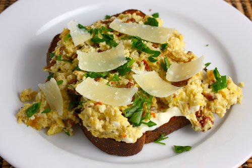 Scrambled Eggs with Sundried Tomato and Parmigiano Reggiano
