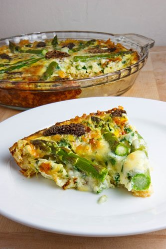 Asparagus, Morel and Ramp Quiche with Brown Rice Crust