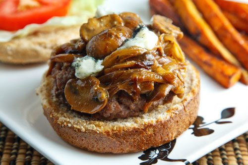 Burgers Smothered in a Caramelized Onion, Mushroom and Blue Cheese Sauce