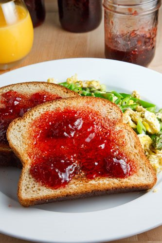 Toast with Strawberry Balsamic Jam and Scrambled Eggs with Asparagus