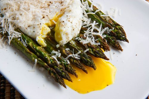 Roasted Asparagus with Poached Egg with Runny Yolk and Parmigiano ...