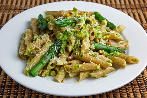 Pistachio Asparagus Pesto on Penne on Closet Cooking
