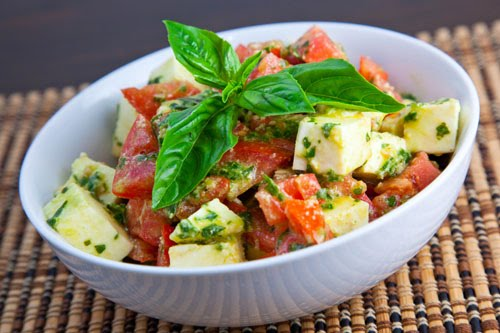 Diced Caprese Salad with a Pesto Dressing on Closet Cooking