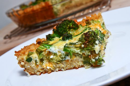 Broccoli and Cheddar Quiche with a Brown Rice Crust on Closet Cooking