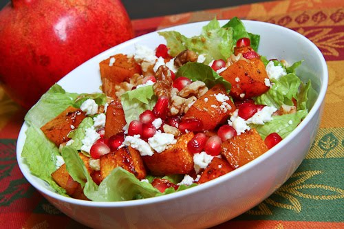 Roasted Butternut Squash and Pomegranate Salad on Closet Cooking