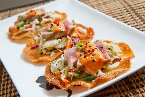Ahi Tuna Tostadas with Gochujang Aioli
