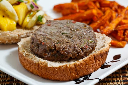 Jamaican Jerk Burgers with Pineapple and Banana Relish and Sweet Potato Fries