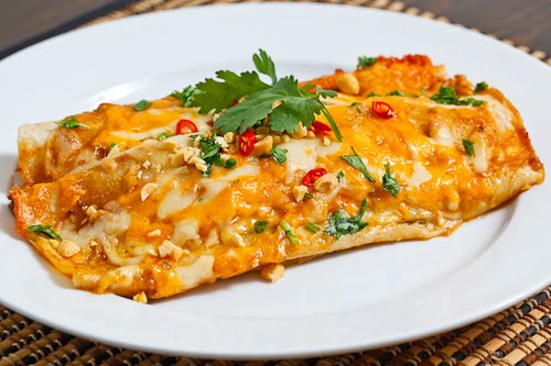 Thai Spicy Peanut Chicken Enchiladas on Closet Cooking