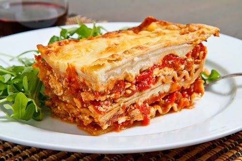 Chicken, Roasted Red Pepper and Goat Cheese Lasagna on Closet Cooking