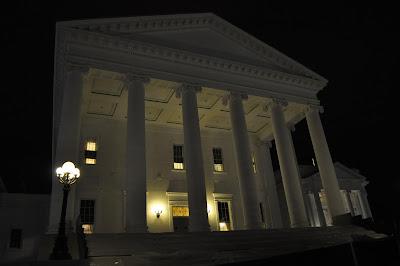 Virginia's Capitol steps at night
