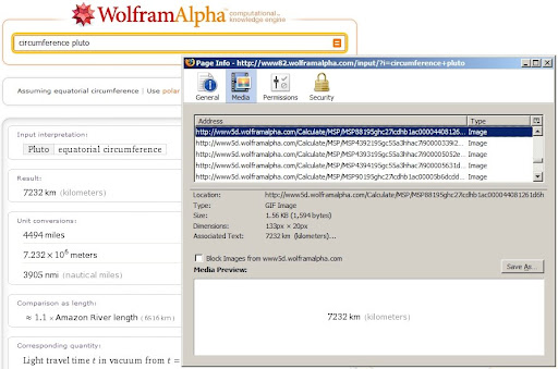 Wolfram|Alpha displays search/query results in GIFs