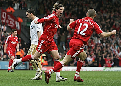 Fernando Torres of Liverpool celebrates after scoring against Middlesbrough.