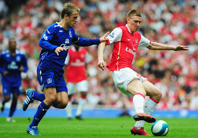 Nicklas Bendtner of Arsenal shields the ball from Philip Neville of Everton