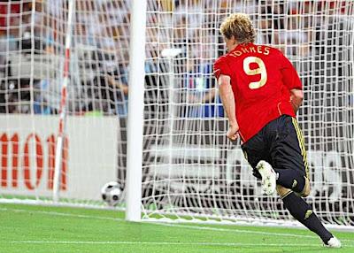 Spanish forward Fernando Torres celebrates after scoring the opening goal against Germany.