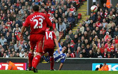 Wigan striker Amr Zaki scores Wigan's second goal of the match.