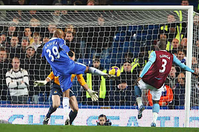 Nicolas Anelka of Chelsea scores against West Ham
