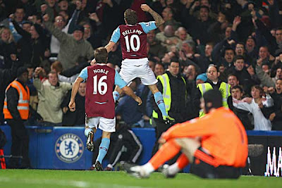Craig Bellamy of West Ham United celebrates his goal against Chelsea