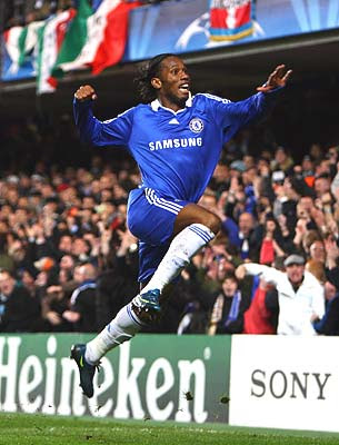 Didier Drogba of Chelsea celebrates his opening goal against Juventus.