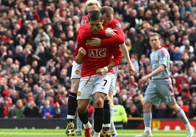 Cristiano Ronaldo celebrates his early goal for Manchester United against Liverpool