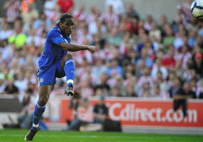 Didier Drogba of Chelsea scores his team's first goal