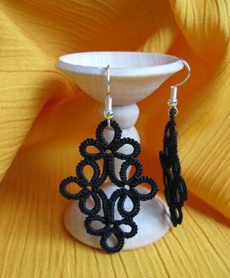 Gothic style Tatted lace earrings