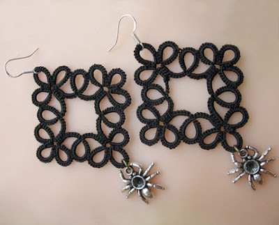 tatted earrings, goth earrings, gothic style earrings, spider, spinner