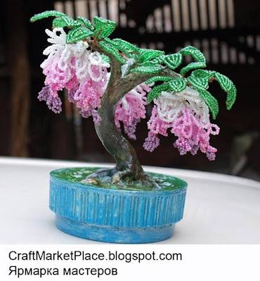 колье из бисера, деревья из бисера, деревья и цветы из бисера, бисероплетение деревья