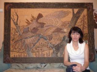 изготовление мозаики, техника мозаики, мозаика из дерева, картины на срезе дерева, картины мозаика, срез дерева