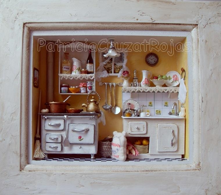 Patricia cruzat artesania y color cocinas con miniaturas for Cuadros para cocina vintage