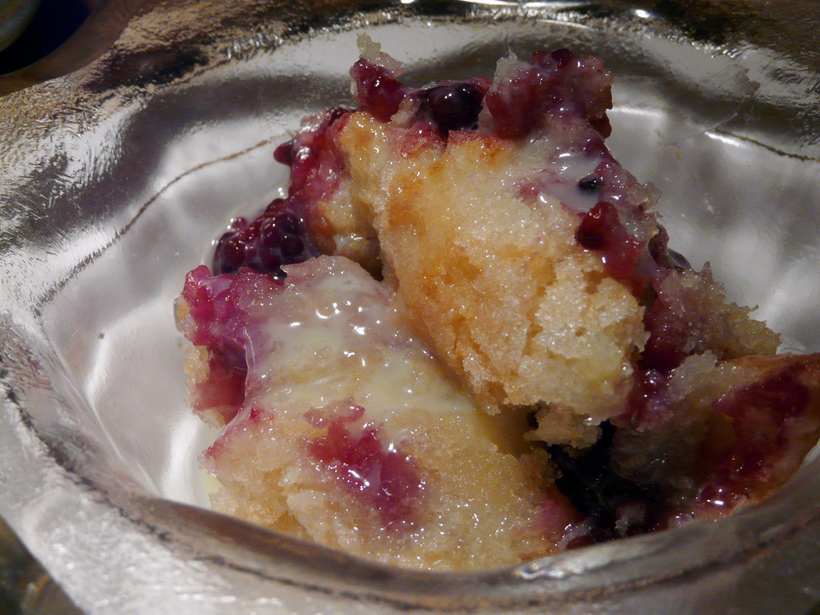 Blackberry Cobbler Drizzled with White Chocolate