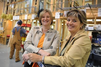 Martina Ernst and Elida Huignard at the Pre-Apprenticeship Training Institute, founded Wo-Built Inc.