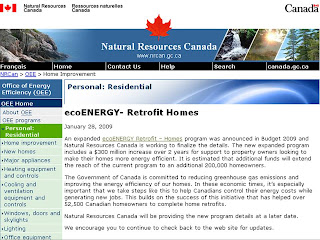 Screenshot: Natural Resources Canada: Home Improvement: Personal: Residential ecoENERGY - Retrofit Homes