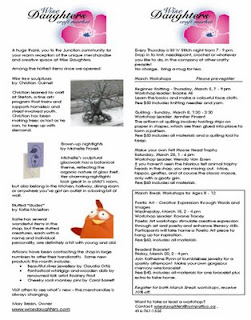 Screenshot: West Toronto Junction Wise Daughters Craft Market Newsletter: News and Workshops, March 2009