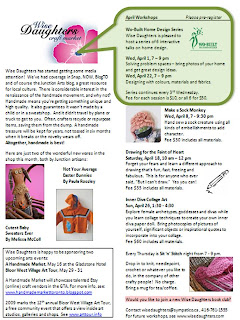 Wo-Built and Wise Daughters Crafts Market Workshop, Newsletter