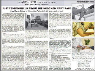 Art of Life Health Centre: Testimonials Shocked Away Pain, Shockwave Therapy