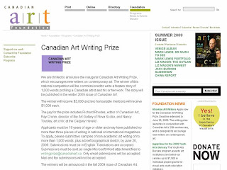 Screenshot: Art Writer: Submit Your Application for the Canadian Art Writing Prize by June 26, 2009