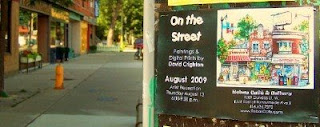 Photo: Poster on the Toronto Junction Public Message Centre: On the Street: Paintings & Digital Prints by David Crighton: August 2009 at Rebas Cafe & Gallery