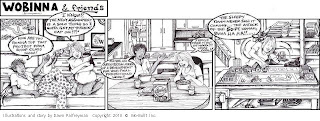 Wo-Built Comic Strip: Wobinna and Friends: A Solo Class Assignment: Architectural Model for Shop Class, illustrations Dawn Palfreyman
