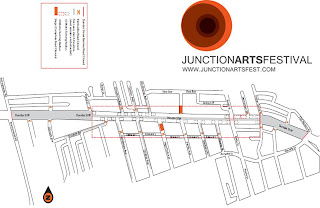 2010 Junction Arts Festival map, Dundas street west, toronto, ontario canada, by artjunction