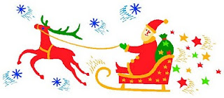 Clipart: Santa with Sleigh and Reindeer Credit:  MS Office