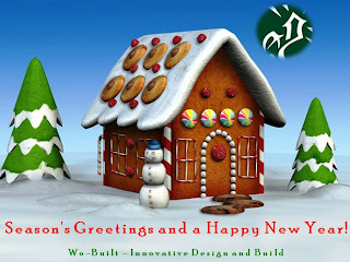 Happy Holidays and Season's Greetings from Wo-Built; Christmas Gingerbread House, by MS ClipArt